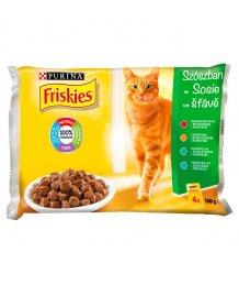 Friskies macskaeledel 4*85g hús-hal válogatás